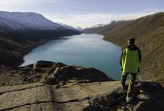 Raudalsvatnet (Rita Barbro Skogset) Tags: water man view stone color snow trees norway skjåk atumn nature pentax sky raudalsvatnet