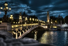 The majestic bridge, Alexander III (Narek Talatinian) Tags: france paris bridge seine night sky pont alexan alexandre quality hdr lamps yellow cool nice relax river water clouds dark light