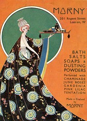 British advertisements: (painting in light) Tags: ad advert advertisement sell selling 1935 british england illustration morny bath salts soaps dusting powders drawing