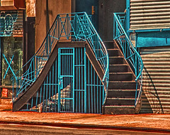 "Spider Like Stairway On Essex Street NYC (nrhodesphotos(the_eye_of_the_moment)) Tags: dsc58143001024 ""theeyeofthemoment21gmailcom"" ""wwwflickrcomphotostheeyeofthemoment"" summer2017 season nyc manhattan les reflections shadows essexstreet stairwaywinding stairway sidewalk metal glass perspective gate graffiti lines step outdoors"