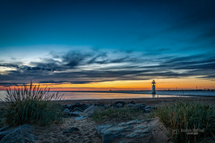 Cloudy evening at the New Brighton Beach (tbnate) Tags: newbrighton mersey merseyside beach rocks clouds sky landscape seascape seaside lighthouse water waves nikon nikond750 d750 nature bluehour dark dusk dramatic outdoor outside sea