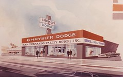San Fernando Valley Motors - Architectural Rendering by Electrical Products Corp. (hmdavid) Tags: vintage sign signage sanfernando california 1960s car dealership dodge chrysler sanfernandovalleymotors epco electricalproductscorporation midcentury modern design art illustration rendering