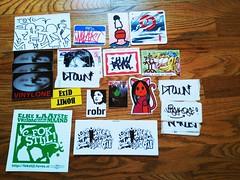 Slap pack from  J.A.C / will trade (FunGi_ (Trading)) Tags: stickersfromredbubblecom vinylonestickers deadaddsstickers slap pack from jac will trade free postcard netherlands sticker samuray redbubblecom