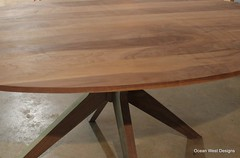 The finishing stage. Walnut has different shades. To give it that blended look, the first step is to dye the wood, followed by a sanding sealer. Next is applying a gel stain to give it a beautiful color. The final step is the top coat. Stay tuned. (Ocean West Designs) Tags: walnut ovaltable woodstain diningroomdecor woodtable kitchentable sawdust decoratingideas finewoodworking wooddesign diningtable woodworker customfurniture woodcraft craftsmanship carpenter designing hgtv diningroom smallbusiness furnituredesign woodworking rustic modern table entrepreneurship handcrafted marketing wood interiordesign