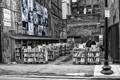 Outdoor bookshop B&W, West St, Boston , Massachusetts, USA (M&M_Photography) Tags: outdoor bookshop books brick street urban weststreet boston massachusetts usa travel tourism culture shop picture photo canon followme bw blackwhite blue