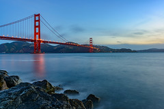 Morning Blue Hour - Golden Gate Bridge (Aleem Yousaf) Tags: nikon bluehour blue goldengatebridge bridges sea water rocks suspensionbridge motionblur seascapes longexposure lights travel usa america frisco sanfran cali photography suspensionbridges d800 seascape westcoast california landscape steel sanfrancisco pedestrians bicycles traffic bridge golden gate goldengatestrait sanfranciscobay pacificocean mistywater sunrise morning