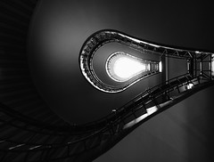 Light Bulb Stairs (Dalliance with Light (Andy Farmer)) Tags: czechrepublic abstract architecture cubist stairway prague bw houseoftheblackmadonna czechia cz
