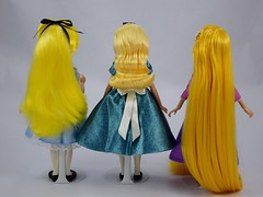 Swapping Outfits of Three 10'' Disney Store Dolls - Before Swap - Standing Side by Side - Full Rear View (drj1828) Tags: us disneystore tangled tangledtheseries doll 2017 purchase posable adventure 10inch 2d deboxed designer heroesandvillains aliceinwonderland alice rapunzel disneyfairytaledesignercollection ourfamilytree 2016 2008 swappingoutfits