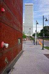 Wish I was Downtown: (brev99) Tags: d610 tamron28300xrdiif tulsa downtown buildings wall bricks brickwall lampposts shallowdof on1photoraw2017 ononesoftware