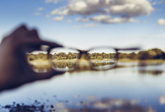 World seen by the glasses (kubaszymik) Tags: canon vsco poland lake sunset glasses 35l 6d gliwice silesia slask śląsk sky clouds blue water reflection pond trees focus dof bokeh