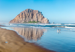 Before the Crowds (pixelmama) Tags: california morrobay morrobaystatebeach pixelmama morrorock therock beach sand birds beachscape pristine reflections untrampled