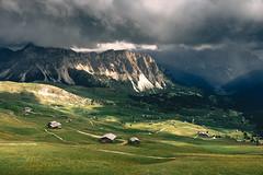 Mastlé Alm (noberson) Tags: alps alm mastlé aschgler gröden gardena val valley alp mountains sun dramatic clouds storm green meadow field cabin cabins italy south tyrol