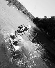 Waterski (roomman) Tags: zalesie górne zalesiegórne piaseczno 2017 warsaw poland landscape nature country countryside south forest lake bw black white blackandwhite bandw monochrome contrast art design waterski sport sports fun activity jump jumping man guy action velocity splash water style nice