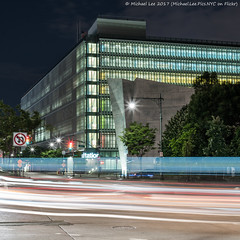 DSNY (20170708-DSC07072) (Michael.Lee.Pics.NYC) Tags: newyork dsny saltshed departmentofsanitation weststreet canalstreet traffictrail lighttrail night longexposure architecture cityscape square hudsonriverpark sony a7rm2 zeissloxia50mmf2