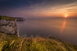 White cliffs in sunset