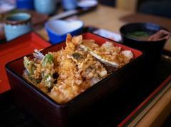 Tendon (Long Sleeper (busy!)) Tags: food lunch restaurant yamamoto やまもと tendon 天丼 rice tempura shrimp vegetables odawara kanagawa japan dmcgx1