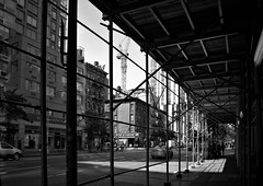 Changing 6 Avenue, Chelsea (sjnnyny) Tags: blockfront cityscape shopronts apartmentbuilding manhattanstreets scaffold walkups urban city oldandnewny sidewalkscene stevnj sjnnyny grii downtown monobw compactapsc