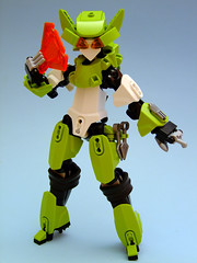 Cyber Kunoichi Azalea (Djokson) Tags: robot girl ninja mecha fan kunai kunoichi green white orange armor lego bionicle moc model toy djokson