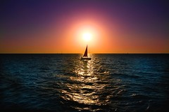 Sailing at sunset - Tel-Aviv beach (Lior. L) Tags: sailingatsunsettelavivbeach sailing sunset telaviv beach sailboat israel sea seascapes silhouettes travelinisrael travel