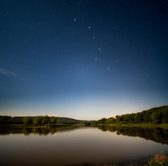 Dipper over the River (Mitymous) Tags: ctriver longexposure moon moonlight night railtrail reflections river summer17 dipper bigdipper stars