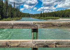A river runs through it (docoverachiever) Tags: wood banffnationalpark glaciermelt river water railing landscape canada scenery alberta bowriver rockies