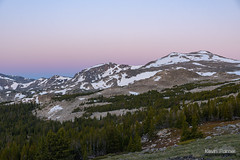 Before the Dawn (kevin-palmer) Tags: cloudpeakwilderness highlandpark bighornmountains bighornnationalforest wyoming nikond750 tamron2470mmf28 early morning sunrise dawn twilight beltofvenus pink clear boulders green grass pine trees snowcapped backp