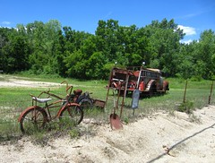 (AmyEAnderson) Tags: galena illinois outdoor scenic rural bucolic historic vintage antiques bicycle truck shovel tools trees sand angled rust rusted bike rip fence barbed wire