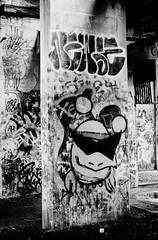 Graffiti Pier_036_01 (mujetdebois) Tags: canonelan100 35mm graffitipier analogphotography biancoenero blackandwhite blackandwhitephotography filmisnotdead filmlives filmphotography graffiti halideproject monochrome negroyblanco noirblanc schwarzundweis streetart черноеибелое