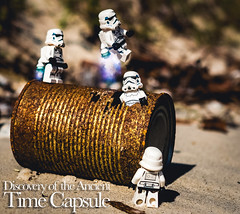 The Time Capsule (minifigphoto) Tags: lego beach legoaction minature minifigs ocean stormtrooper toyphotography toyphotographers rust tins scifi time