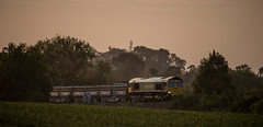 (Peter Leigh50) Tags: freight freightliner wistow evening leicestershire landscape late sunshine sun class 66 66544 shed uk rural wheat field trees train railway railroad sunset canon eos 6d
