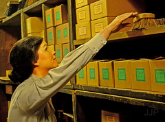 Brush (Luzon Jim) Tags: museum d5100 day woman person people indoor shelf reach look search