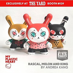 #Repost @myplasticheart My Dunny's at booth 139, see you all soon ❤️ ・・・ In anticipation to the debut of her upcoming Designer Toy Awards Dunny Series, @harlow_bear super-sized a set of 5 inch Dunnys as companion pieces to her 3 new designs in the s (Andrea Kang) Tags: instagram ifttt dunny watermelon melon cute kawaii custom customtoy arttoy andreakang fivepointsfest designertoys toycollector rascal king
