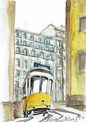 Lisbonne bien sûr ! (Croctoo) Tags: croctoo croquis croctoofr aquarelle architecture tram ville watercolor lisbonne lisboa