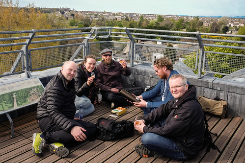 Icelanders, on a whisky tour, on top of the Elgin Cathedral tower
