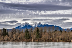 Golden Ears (RussellK2013) Tags: ngc scenicsnotjustlandscapes outdoor nationalgeographic picturesque d90 18105mmf3556 nikkor nikon landscape dramatic clouds postcard scenery scene view vista fraserriver river mountains mountain goldenears canada fortlangley britishcolumbia