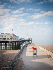 Morning Walk (amipal) Tags: 175mm beach brighton clouds england gb greatbritain manuallens palacepier pier sea seafront sky sussex uk unitedkingdom voigtlander water