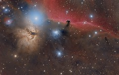 IC 434/B33/NGC 2023 The Horsehead Nebula and Flame Nebula (Paddy Gilliland @ Image The Universe) Tags: horsehead flame b33 ic434 ngc2023 nebula ngc ic space nebulae stars night astro astronomy astrophoto astrophotography ap lrgb rgb hubble cosmos texture abstract outdoor wide widefield nighttime sky dark colours astrometrydotnet:id=nova2095051 astrometrydotnet:status=solved