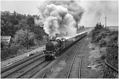 45690. Not so Brightside! ......... (Alan Burkwood) Tags: brightside sheffield lms stanier jubilee 45690 leander coasttocoastexpress steam locomotive bw