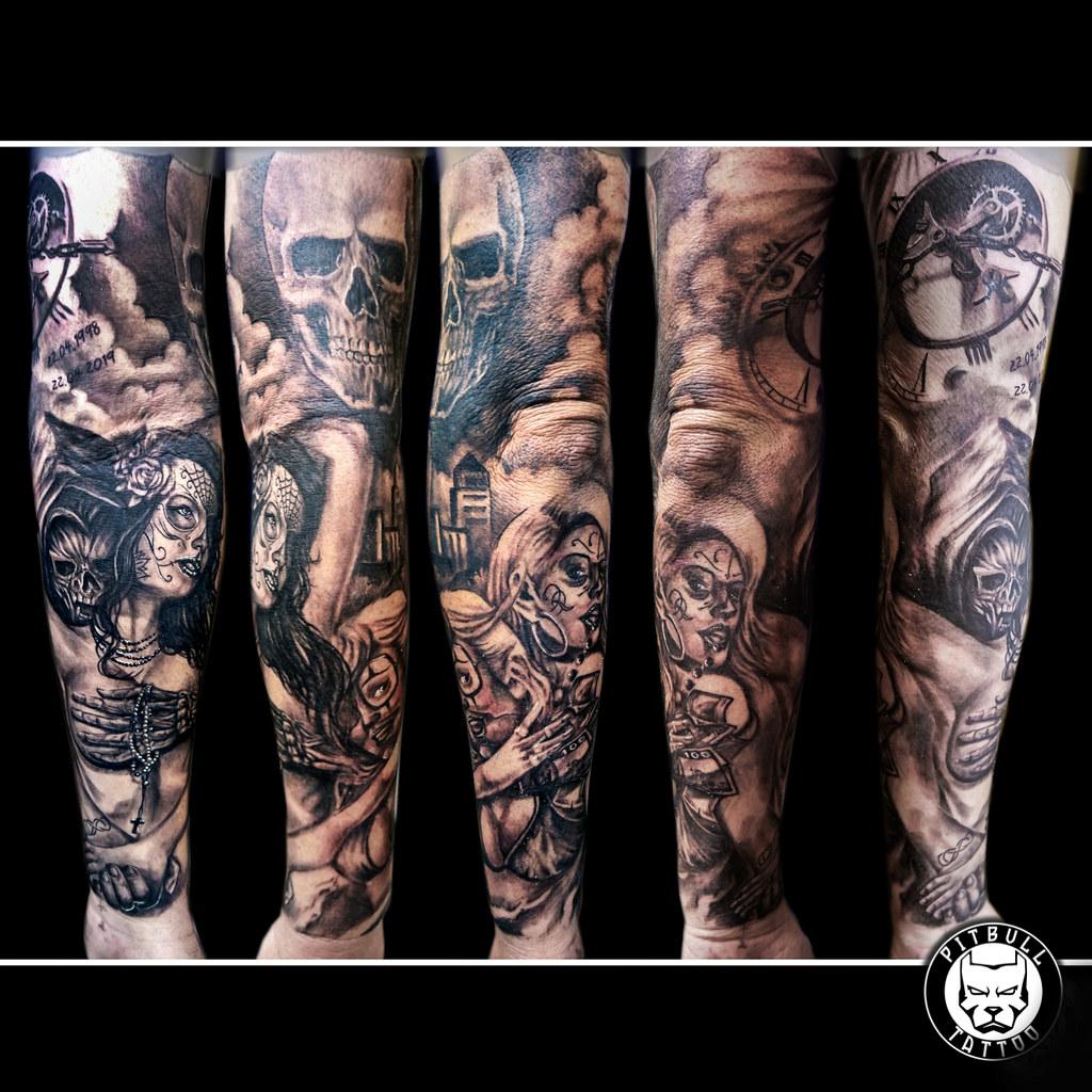 eb14b59ef9ed9 Black & Grey Tattoo - Multi Session (Pitbull Tattoo Thailand) Tags: red
