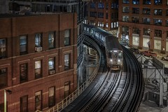 Night trip (karinavera) Tags: travel sonya7r2 chicago view cityscape building architecture city 50mm night trainstation urban street transport train cinematic