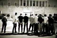 Day  138: Is for ...The Boys Who Stand At Ease (Storyteller.....) Tags: 365 blackandwhite blackwhite athens men boys ease stand people line