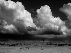 Behind the dune (VinZo0) Tags: nuages cloud ciel sky black white plage beach dune africa afrique poteau sable sand contraste landscape paysage mer sea ipressionnant apocalyse exterieur mono monochrome