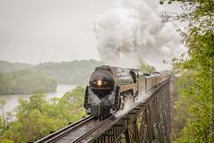 N&W 611 at Stewartsville, VA (Scriptunas Images) Tags: 611 steam smoke rain roanoke river bridge nw norfolkwestern