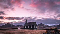 Budakirkja - Budir, Iceland - Travel photography (Giuseppe Milo (www.pixael.com)) Tags: iceland landscape sunset travel pink landmark sky countryside budir architecture church red westernregion is onsale