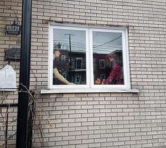 Neighborhood Watch (Exile on Ontario St) Tags: mannequin creepy looking by window fenêtre watch watching rosemont petitepatrie petite patrie montréal house home mannequins dummy dummies asian man drag queen crossdressing windows fenêtres montreal baby doll dolls plastic