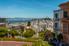Lombard Street in San Francisco , people line up just to drive down the zig zag street (RickyBats) Tags: wanderlust views ocean architecture roads travel california homes lombardst neighborhood outdoors road sanfrancisco scenery scenic sky sun zigzag
