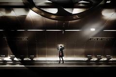 ...artsetmétiers... (*ines_maria) Tags: paris france business urban urbanart modern art motion reflection light tube metro station artsetmétiers blur woman person futuristic panasonic dmcgx8 transportation