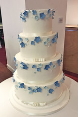 Mixed Blues Flower Wedding Cake