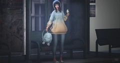 081. (Yaya Levi | Fashion Blogger) Tags: blues cosmic dust n21 hoodie emarie ice cream k9 kustom9 paper arrow co capris jeans zenith meow backpack reign pineapple slips pseudo bus stop sl secondlife online virtual avatar fashion photography blog blogger owd