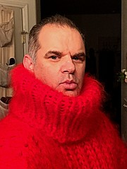 Red Mohair Giant Turtleneck from Tangles Creations (jeremyv3) Tags: knitted red tanglescreations sweaterfetish turtleneckfetish sweater mohair turtlenecks extremeturtleneck turtleneck